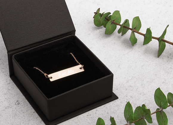 "Engraved ""Eat Me"" Silver Bar Chain Necklace"