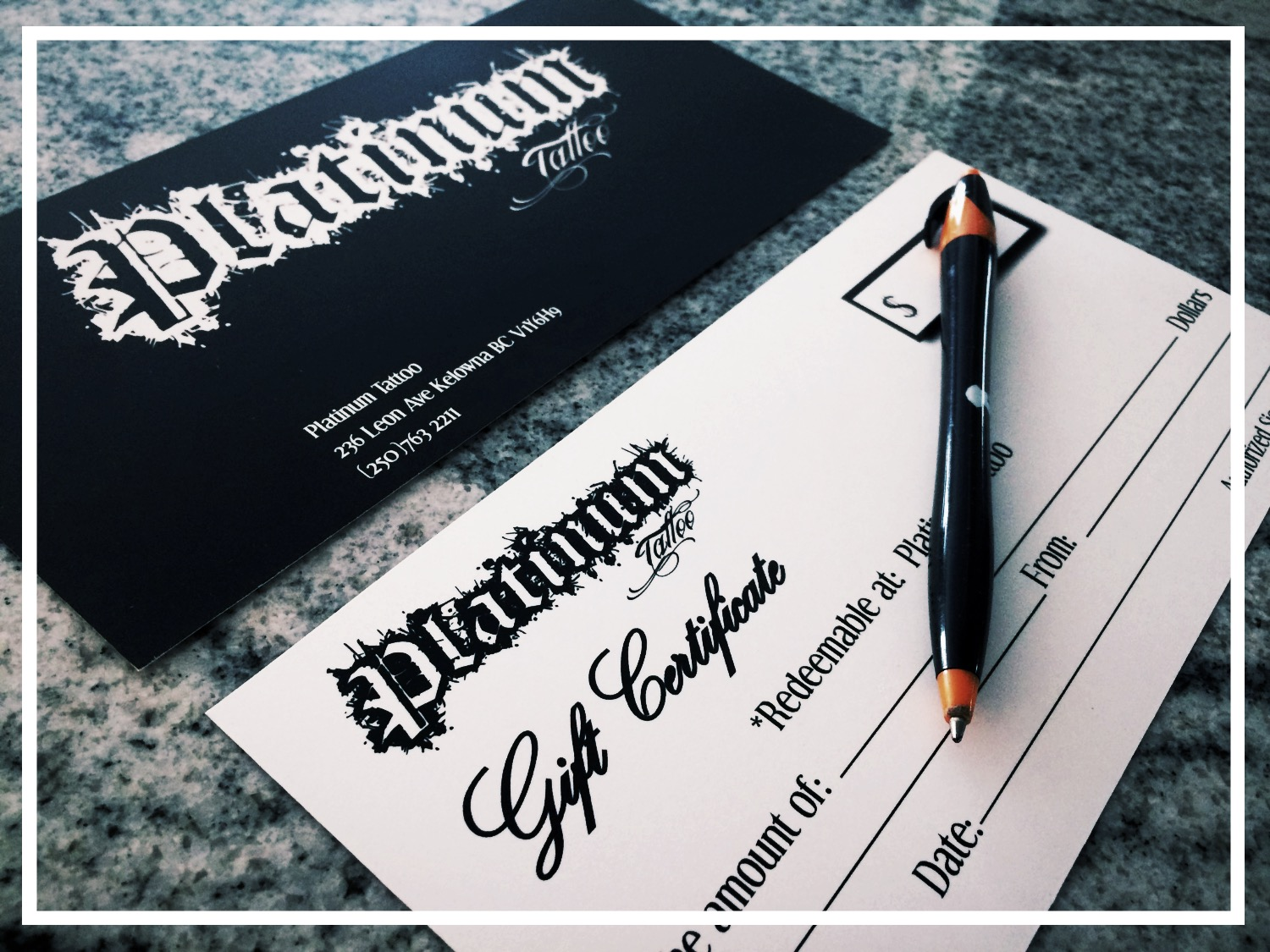 Platinum Tattoo Gift Certificates