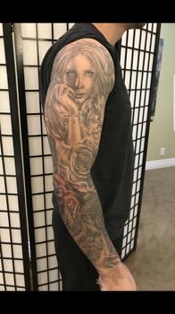 Custom tattoo sleeve by Bella at Kelowna's tattoo shop, Platinum Tattoo.
