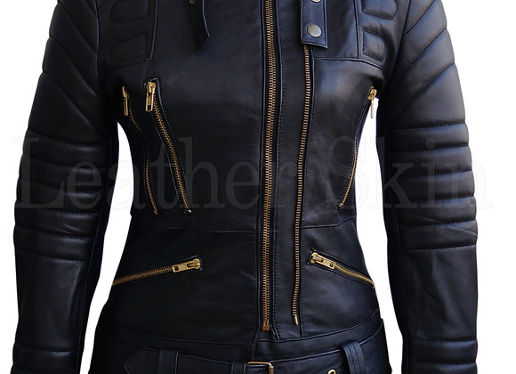 Women's Black, Highest Quality, Genuine Leather, Moto Jacket