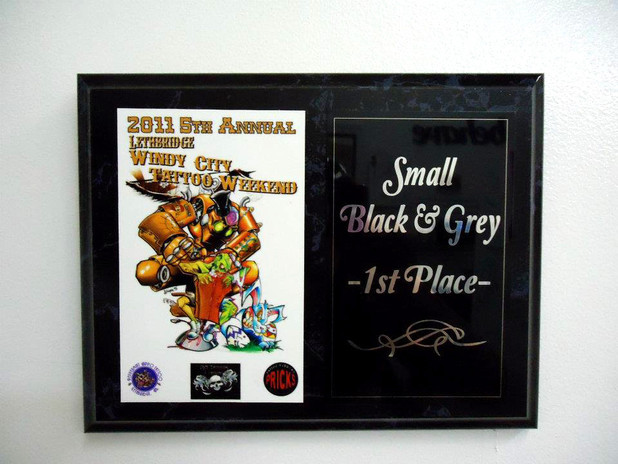 Lethbridge Tattoo Convention Award for 1st Place Black and Grey to Bella of Platinum Tattoo