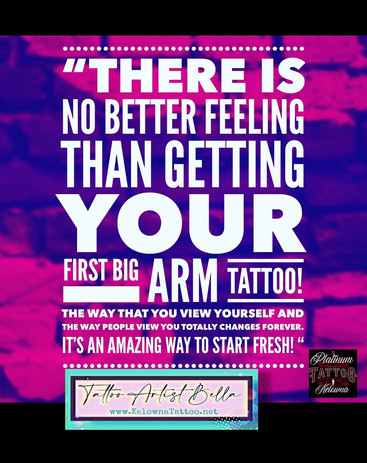 There is No better feelin than getting your first Big Arm Tattoo!