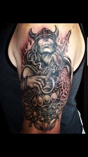 Amazing Viking tattoo by Kelowna tattoo artist Bella at her Platinum Tattoo studio in BC Canada.