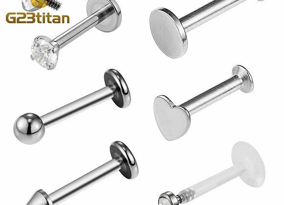 16G  Hypoallergenic Titanium Labret Studs : Internally Threaded