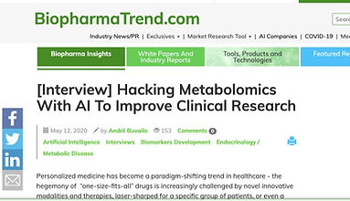 """Olaris featured in BiopharmaTrend Q&A article, """"Hacking Metabolomics With AI To Improve Clinical Research"""""""