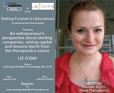 """CEO of Olaris speaks at StartUp Leadership Conference on """"Getting Funded in LifeSciences"""""""