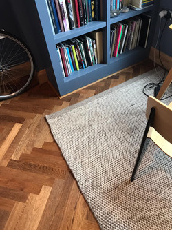 Chevron parquet installation - Havwoods engineered parquet flooring with acoustic underlay