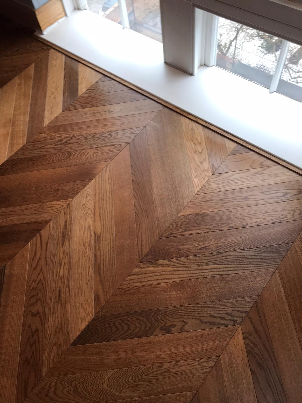 Chevron parquet installation - Havwoods engineered parquet flooring with acoustic underlay