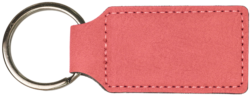 Keychain Leather Pink Rectangle