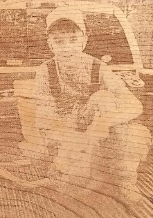 Portrait on Cherry Wood 4x6