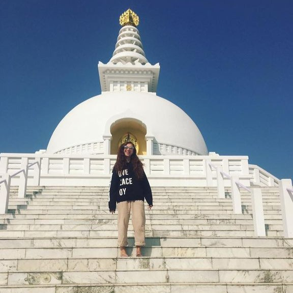 Visiting a peace pagoda in Nepal.