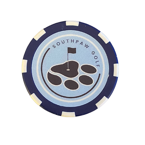 Traditional Baby Blue Southpaw Golf Poker Chip Ball Mark