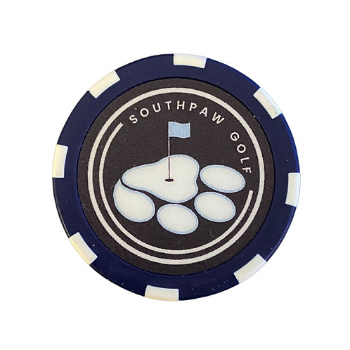 Traditional Navy Blue Southpaw Golf Poker Chip Ball Mark