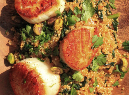 Scallops over Spicy Quinoa, Kale, and Pistachios