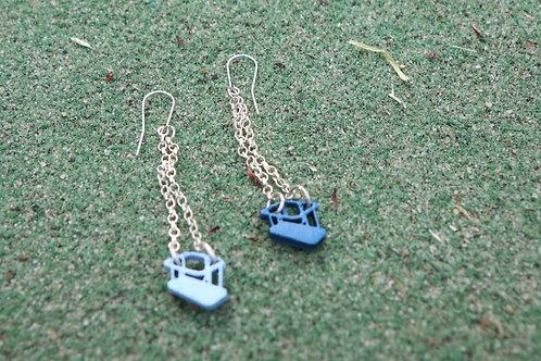 Silver Blue Swing Earings