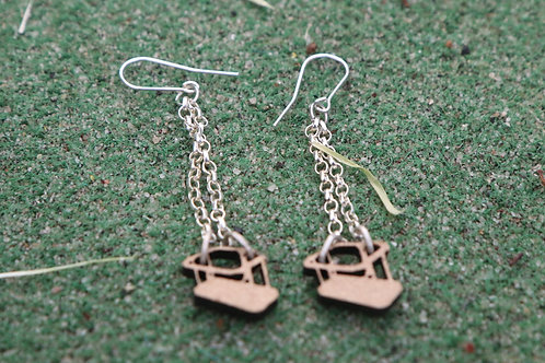 Wooden Swing Earrings (various colours)
