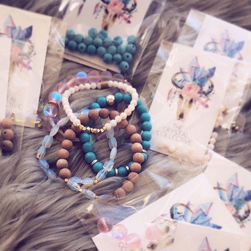 Bracelet Kits Sandia, Pink Aura, Fancy, Sweet, Rosewood Diffuser