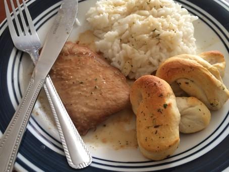 Teriyaki Pork, Sticky Rice, and Garlic Knots