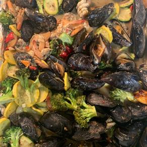 Mussels, Shrimp & Veggie Broil