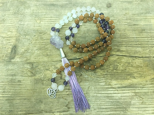 moonstone + rose quartz + amethyst mala