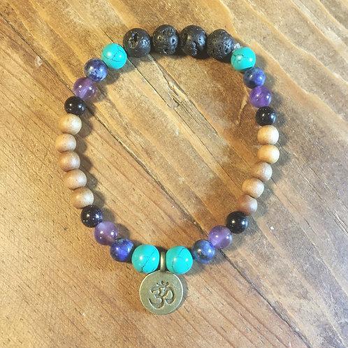Turquoise, Amethyst, Lapis, Blue Goldstone, Lava & Sandalwood Mala Bracelet