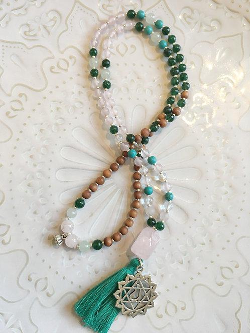 Heart Chakra Mala: Rose Quartz, Jade, Green Aventurine & Turquoise Accents