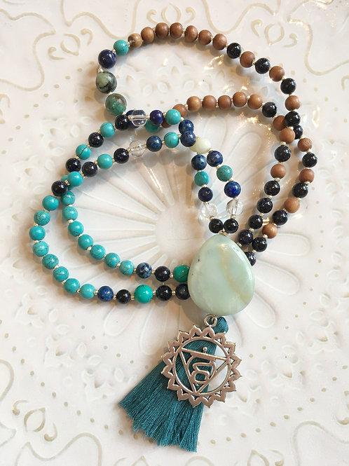 Throat Chakra Mala: Turquoise, Amazonite, Lapis, Blue Goldstone & Crystal Quartz