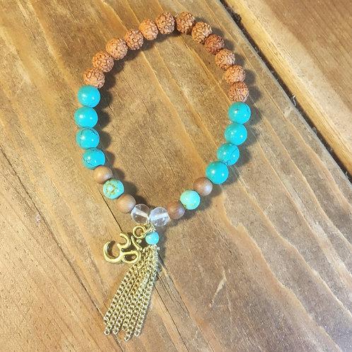 Turquoise, Crystal Quartz, Sandalwood & Rudraksa Mala Bracelet