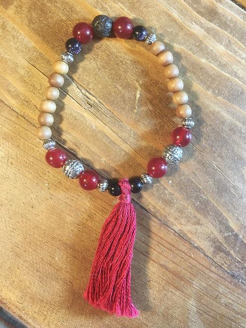 Red Carnelian, Black Jasper, Lava Stone & Sandalwood Mala Bracelet