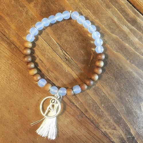 Moonstone + Sandalwood Mala Bracelet