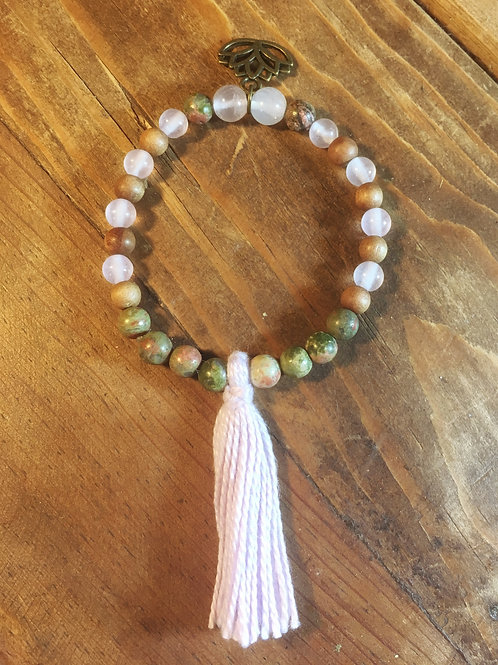 Unakite, Rose Quartz & Sandalwood Mala Bracelet
