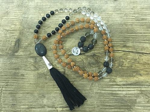 quartz + black onyx + lava mala