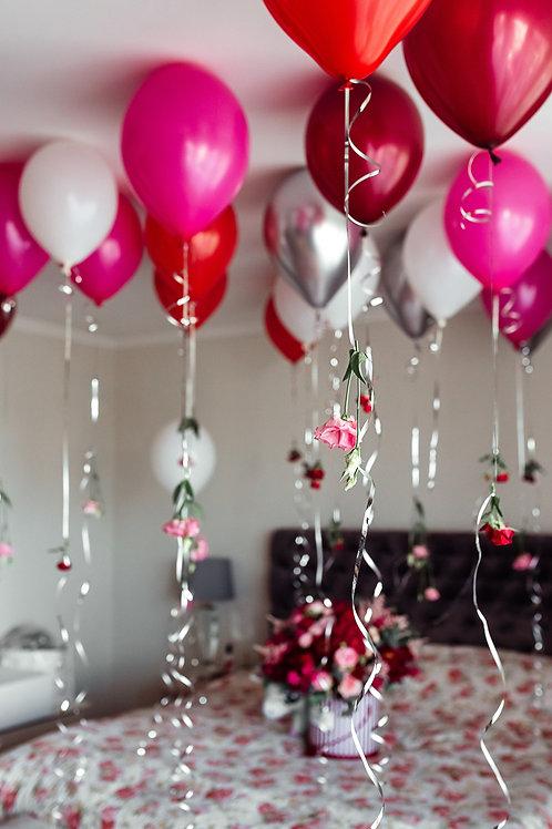 Helija balons 30 cm + zieds