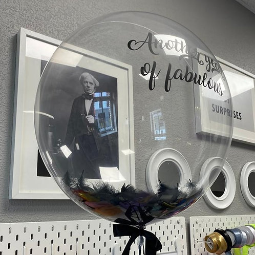 Deco bubble with feather + text