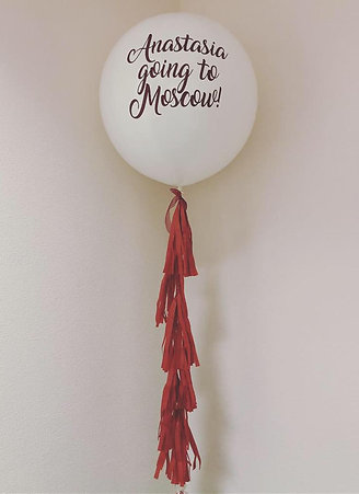 Balloon with text and tassel