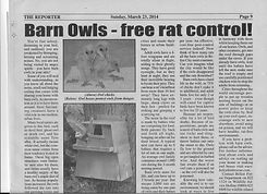 Reporter Newspaper - Barn Owl article