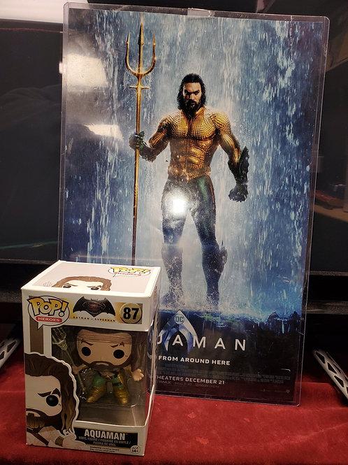 Aquaman Funko Pop with min movie poster