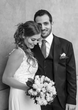 Brudepar med buket i København