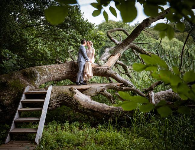 Romantisk bryllupsbillede ved Lejre, Roskilde