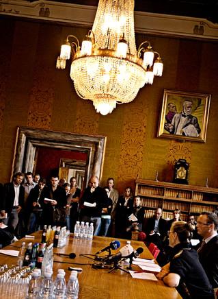 Pressemøde på Københavns Rådhus