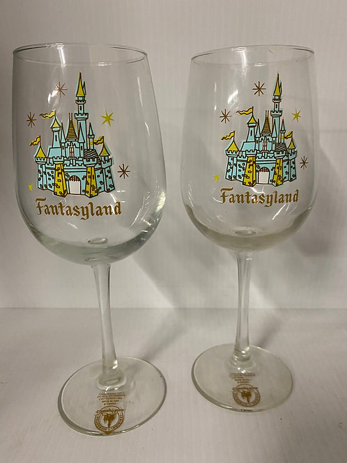 Vintage Disney Fantasyland Goblet Wine Glass Rare - Set of 2