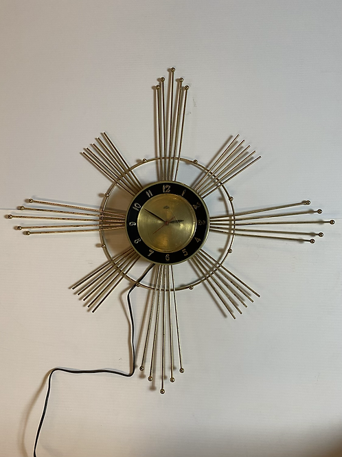 Vintage Mid Century Modern LUX Starburst Sunburst Wall Clock 28