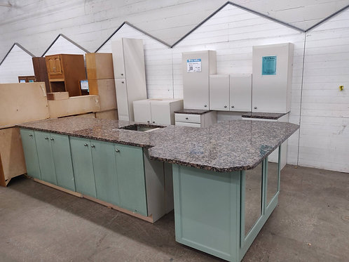 Kitchen Cabinet Set - White & Green with Granite tops, 13 pc