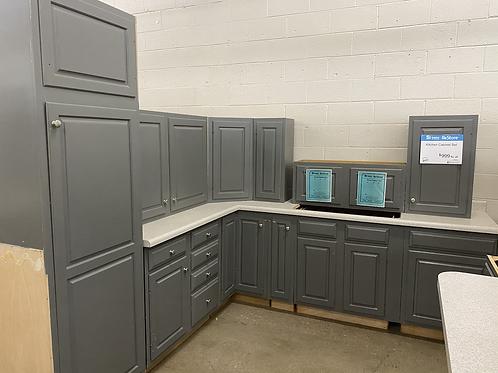 Kitchen Cabinet Set - Gray w/ rolled edge laminate tops, 16 pcs