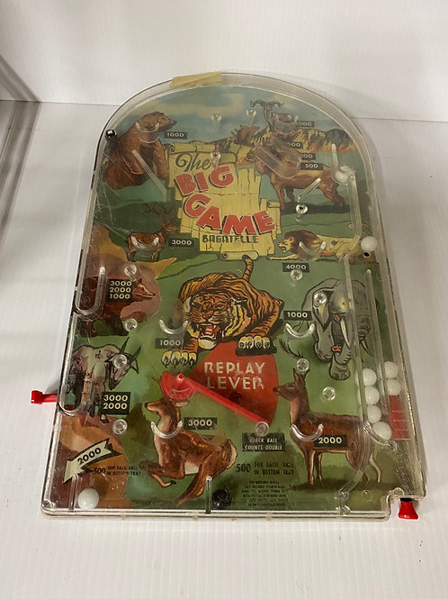 Vintage 1950s Table Top Toy Pinball Game The Big Game Bagatelle Safari Hunting