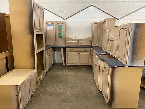 Kitchen Cabinet Set - Beige with blue laminate tops, 19 pc