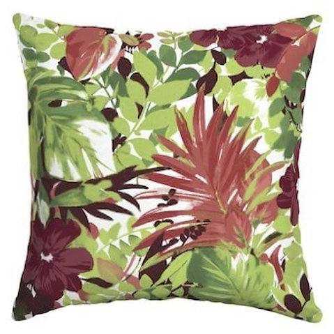 Outdoor Throw Pillow - Tropical Leaf Red/Green