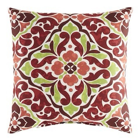 Outdoor Throw Pillow - Tile Red/Green