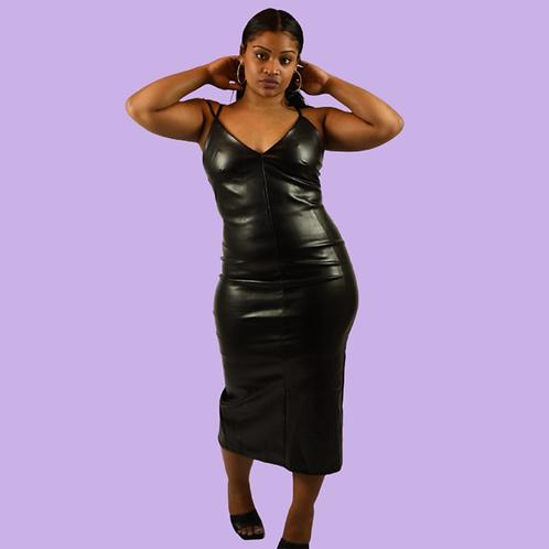 3 Strap Midi Black Dress