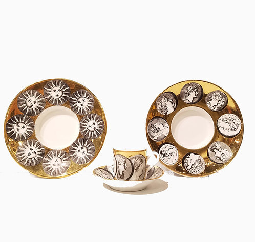 Group of Fornasetti Milano Espresso Cup & Saucer Plus 2 Fornasetti under Plates